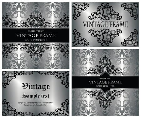 Vector set of cards with a vintage decoration. Stylish invitation Stock Vector - 28246683