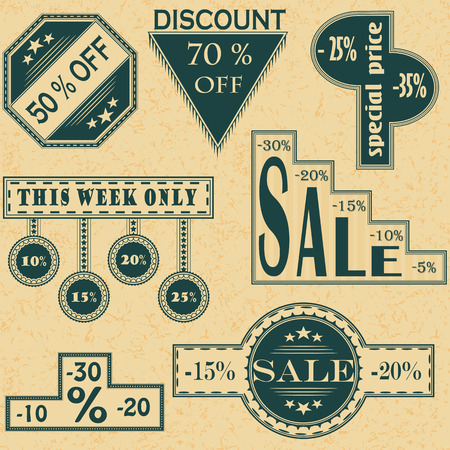 Vector vintage sale labels set, design elements Discount, price illustrations     Vector