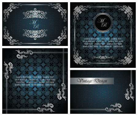 Set of vintage luxury cards. Vintage seamless wallpaper with frame,  striped background     Vector