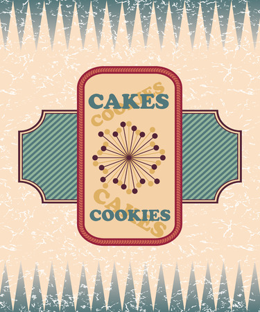 Retro bakery label. Vintage design, grunge background
