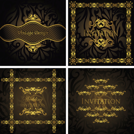 Set of vintage invitations. Invitation with a floral frame. Floral seamless background. Modern design                       Vector
