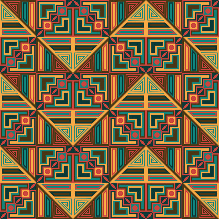 Seamless background in retro colors. Geometric pattern. Abstract design    Illustration