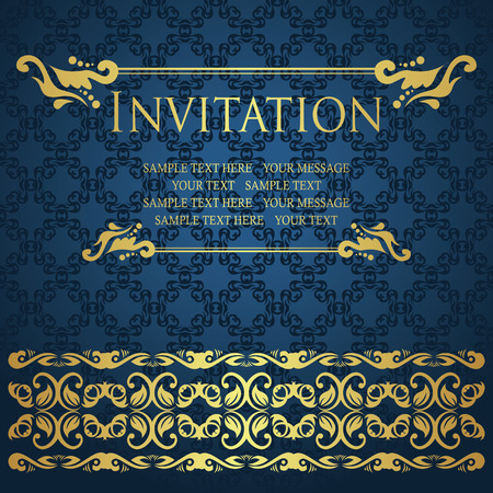 Vintage invitation with decorative borders. Seamless background                         Vector