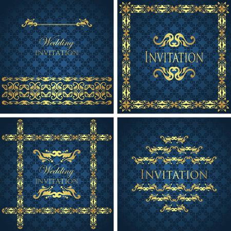 Set of vintage invitations. Floral frame. Seamless background. Modern design                       Vector