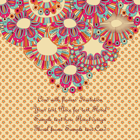 Floral card in bright colors. Floral pyramid, place for text             Vector