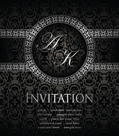 Invitation card in retro style. Seamless background in a black with frame       Vector