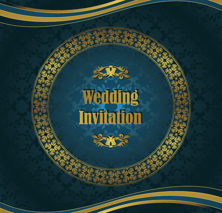 Wedding invitation with round frame. Seamless background in a blue                     Vector