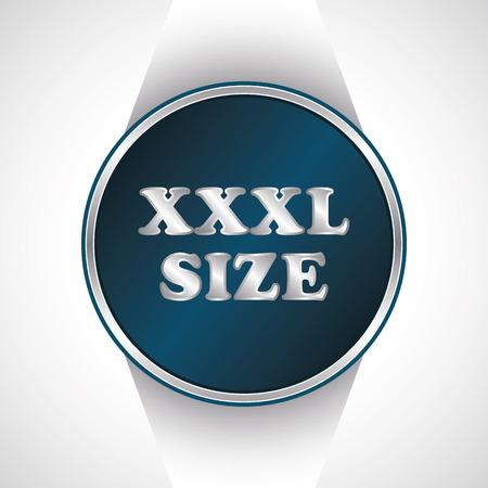 xxxl: Xxxl size icon. Vector button