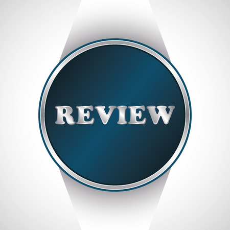review icon: Review icon. Vector button