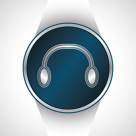 earbud: Headphones icon. Vector button        Illustration
