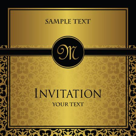 Uitnodiging met een gouden versiering. Origineel ontwerp