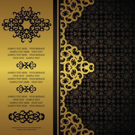Vintage invitation on seamless background. Gold decoration