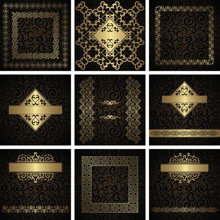 bordes decorativos: Conjunto de marcos, tarjetas, invitaciones de fondo sin fisuras florales