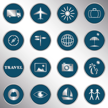 blue eye: Travel icons. Vector buttons Illustration