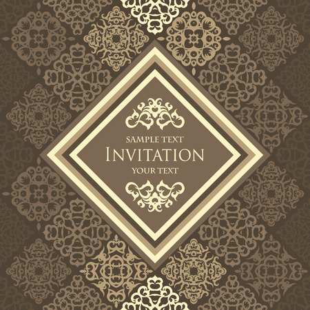 Vintage seamless background with frame Vetores