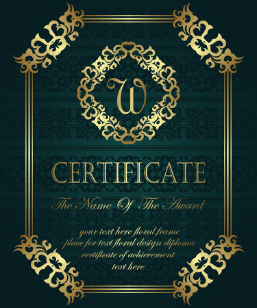 ornate swirls: Template of certificate. Vintage background. Can be used as a diploma. Vintage frame