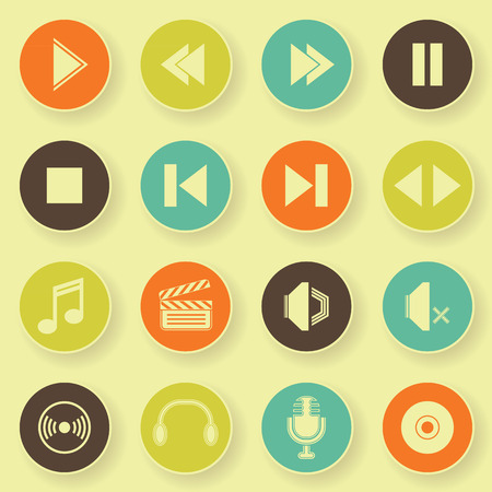 audio video: Audio video icons in bright colors. Vector buttons