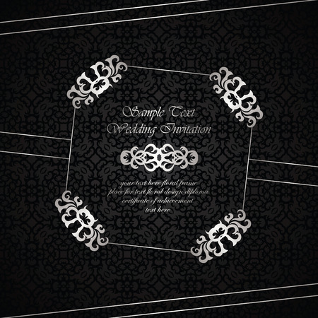 elegant backgrounds: Wedding invitation with vintage frame on seamless background