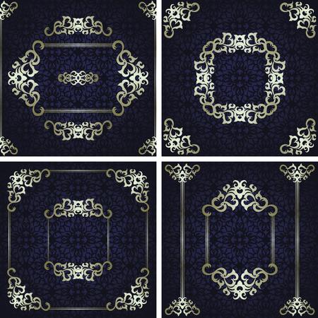 royal frame: Set of invitations with frames on seamless background Illustration
