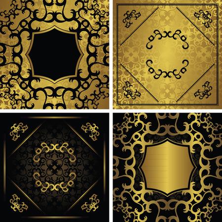 vintage gold frame: Set of cards with a gold decoration. Modern invitations with vintage gold frame