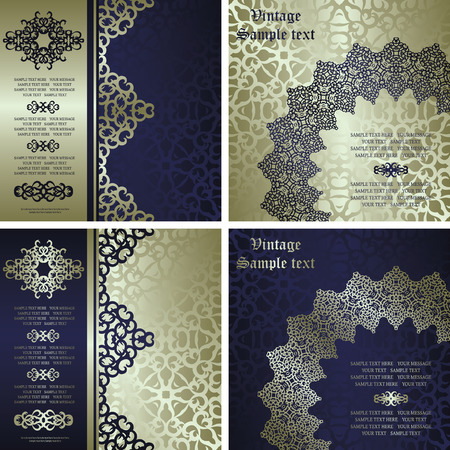 Set of invitations with lace pattern on vintage background Vector