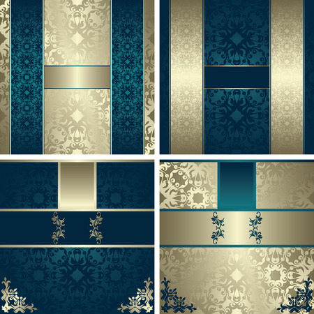 Set of modern invitations on vintage background. Can be used as wedding invitation