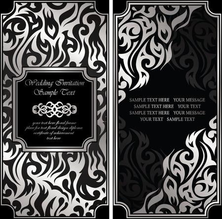 bodas de plata: Invitación de boda con fondo floral en negro y plata Vectores