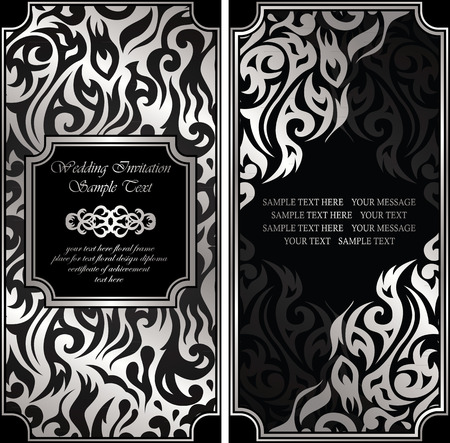 silver frame: Wedding invitation with floral background in black and silver Illustration