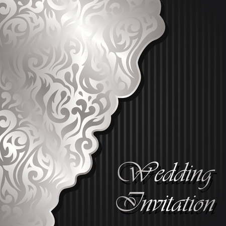 Wedding invitation with floral pattern on striped background Vetores