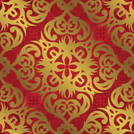 gold ornaments: Template of vintage seamless pattern. Vintage background in red