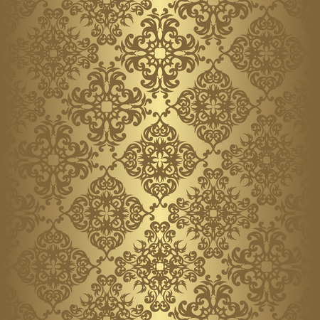Vintage seamless background in a gold. Can be used as background for wedding invitation Stock Illustratie