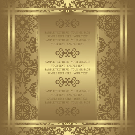 gold floral: Vintage invitation on luxury background. Can be used as wedding invitation