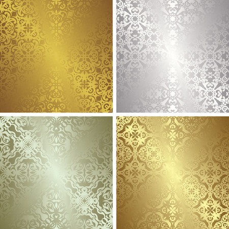Set of four template of seamless patterns in gold and silver colors. Vintage design Vector
