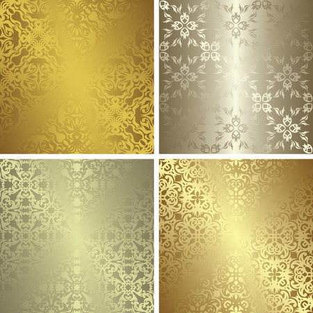 Set of four template of seamless patterns. Gold and silver colors. Vintage style Vector
