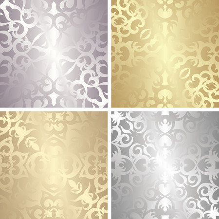Set of four template of seamless patterns in gold and silver colors. Vintage style. Luxury design Vector