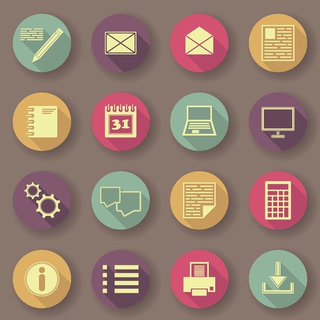 original design: Computer and organizer icons. Bright colors. Vector buttons. Original design