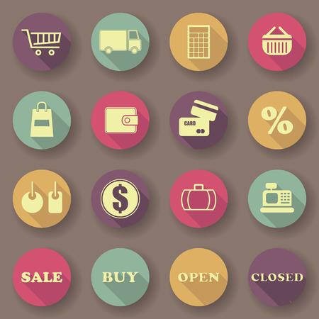 vector buttons: Shopping icons. Bright colors. Vector buttons. Original design