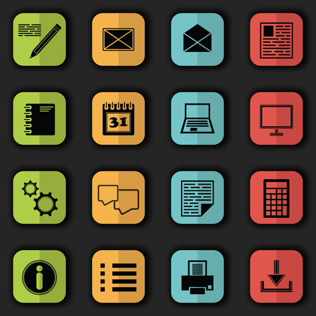 Computer and organizer icons. Bright colors. Vector set of buttons. Original style Vector