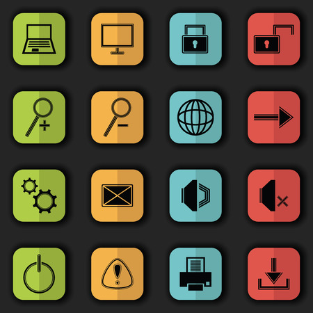 Computer icons in bright colors. Vector set of buttons. Original style Vector