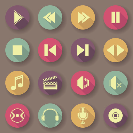 original design: Audio video icons in bright colors. Vector buttons. Original design