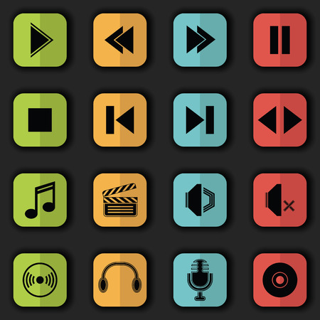 audio video: Audio video icons in bright colors. Vector set of buttons. Original style