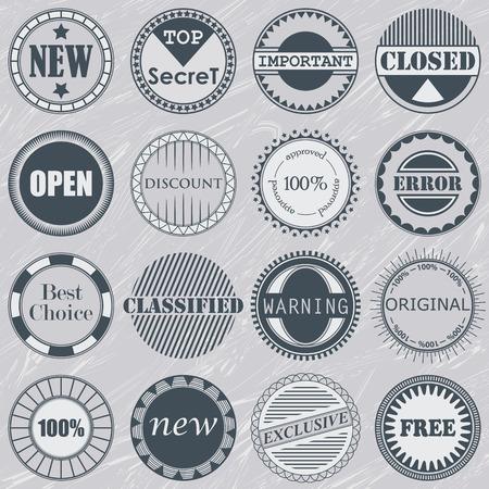 Collection of stamps. Set of labels. Vintage design Vector