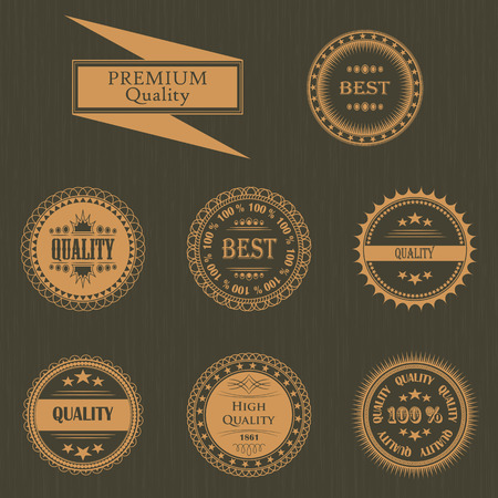 original circular abstract: Premium quality labels set. Vintage Design. Round labels. Grunge background
