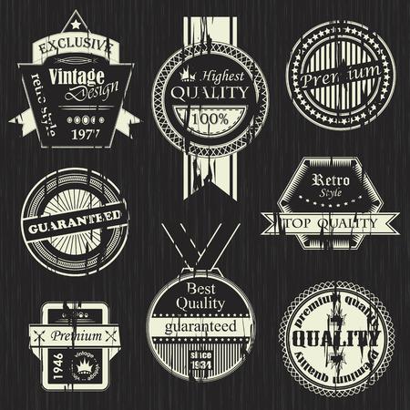 Vector set of vintage labels. Retro labels. Vintage labels collection. Grunge design Vector