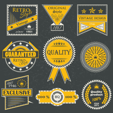 quality: Premium quality labels. Set of retro labels. Retro Vintage Design. Vintage collection