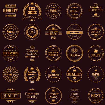 best quality: Set of premium quality labels in a gold. Retro Vintage Style Illustration