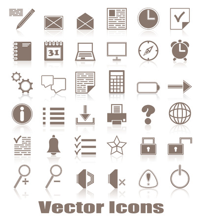 original design: Organizer and computer icons. Vector set of buttons. Original design