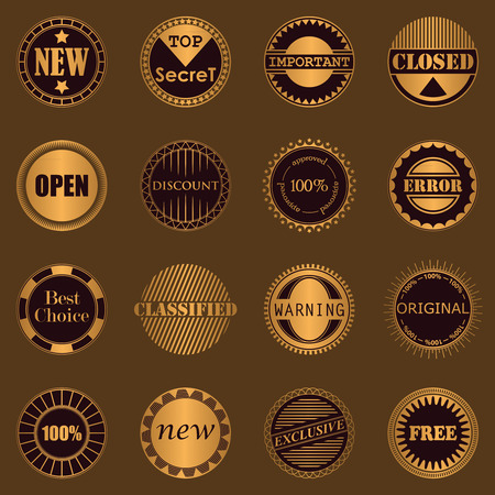 Collection of stamps. Set of labels. Luxury design Vector