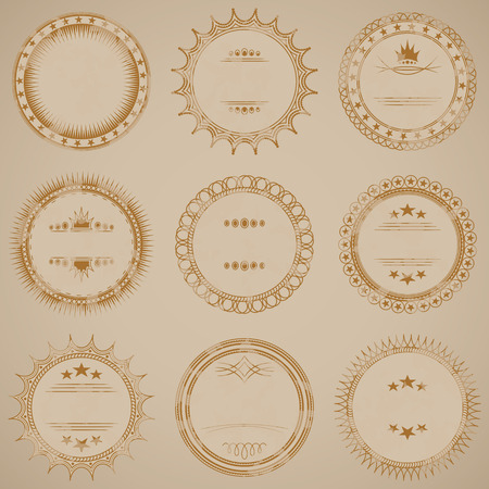 rubberstamp: Grunge stamp collection. Set of templates of round labels