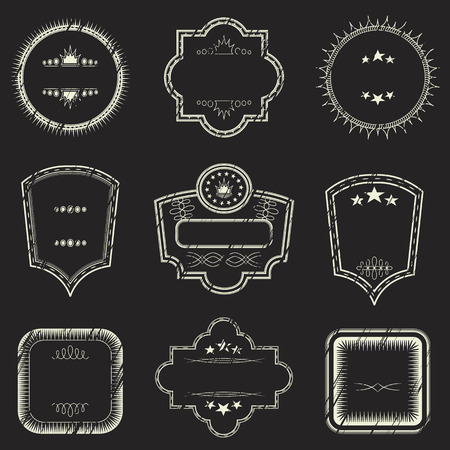 stamp collection: Grunge stamp collection. Set of templates of labels Illustration